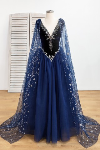 stunning starry night sky stars and moons beaded long navy prom dress 1