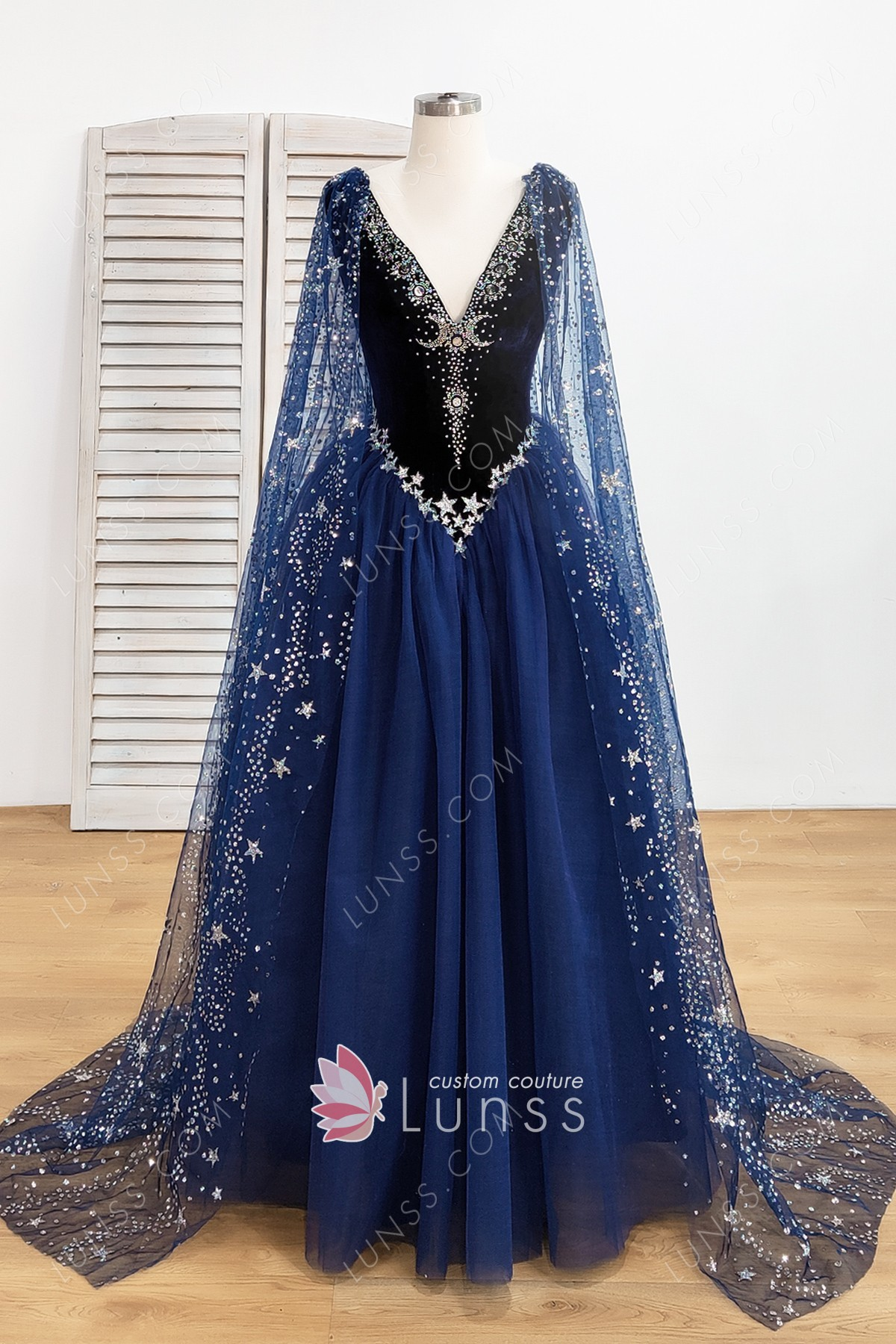 21b072c6749 Stunning Starry Night Sky Stars and Moons Beaded Long Navy Prom Dress -  Lunss Couture