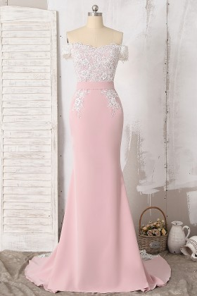 elegant off the shoulder dusty pink spandex bridesmaid dress with lace appliques 1