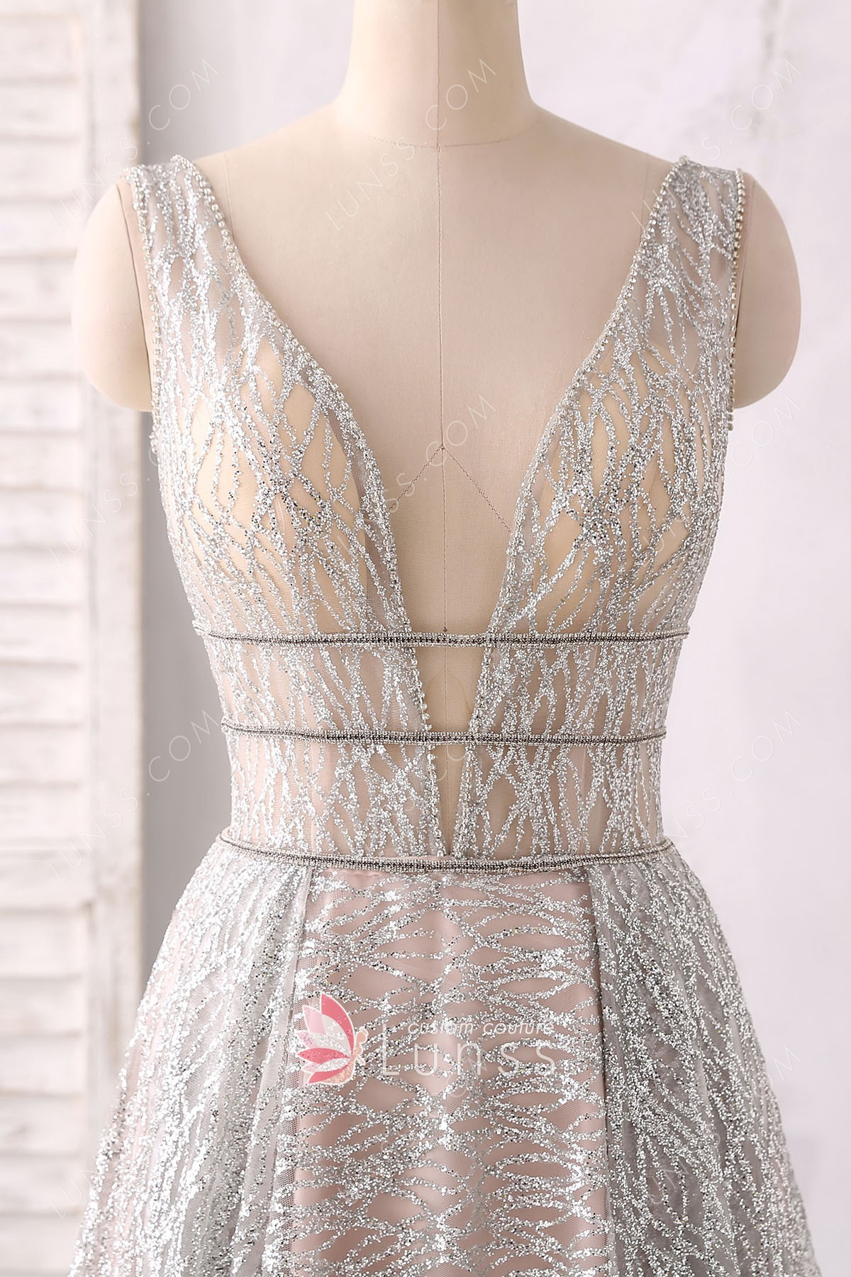 Sparkling And Sheer Silver Plunging V Neck A Line Evening