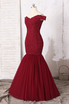 Burgundy Off The Shoulder Lace Trumpet Prom Dress Lunss