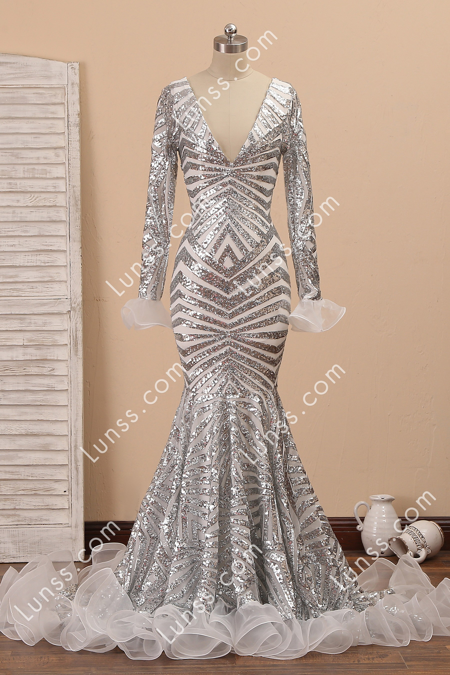 rose gold sequin ruffle open back mermaid prom dress   lunss