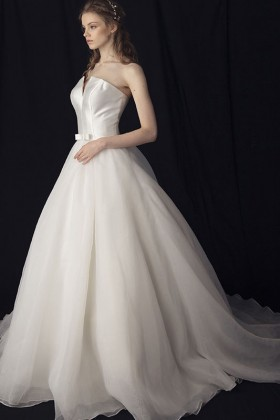 Graceful Strapless Princess Ball Gown ivory Satin Tulle Lace up Wedding Dress 1