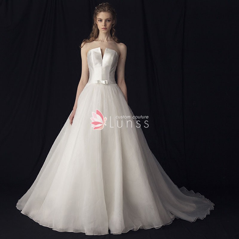 Strapless Princess Ball Gown Ivory Satin Tulle Lace Up Wedding Dress 2