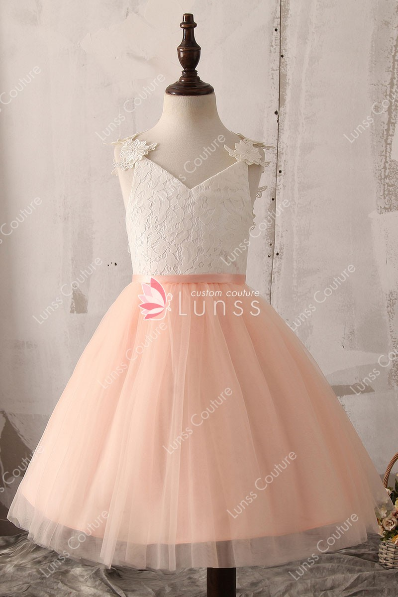 Two-Tone Knee Length/Tea Length White Lace and Peach Tulle Flower ...