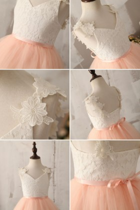 tea length white lace flower girl ball gown