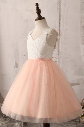 white lace and peach tulle flower girl ball gown