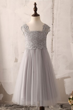 grey lace and tulle tea length graceful flower girl dress