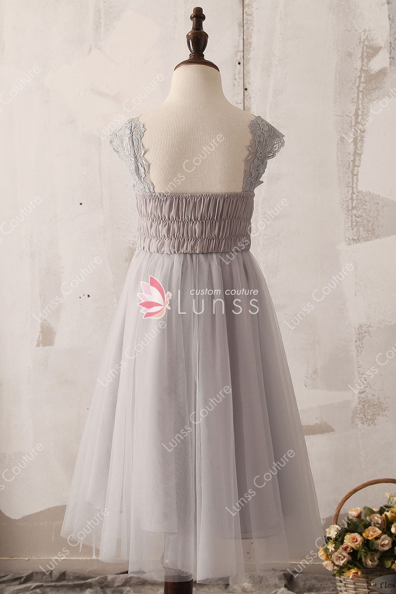 bb1cfff5aa8 Grey Lace and Tulle Tea Length Graceful Flower Girl Dress - Lunss ...