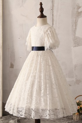 ivory lace flutter sleeve flower girl dress for wedding
