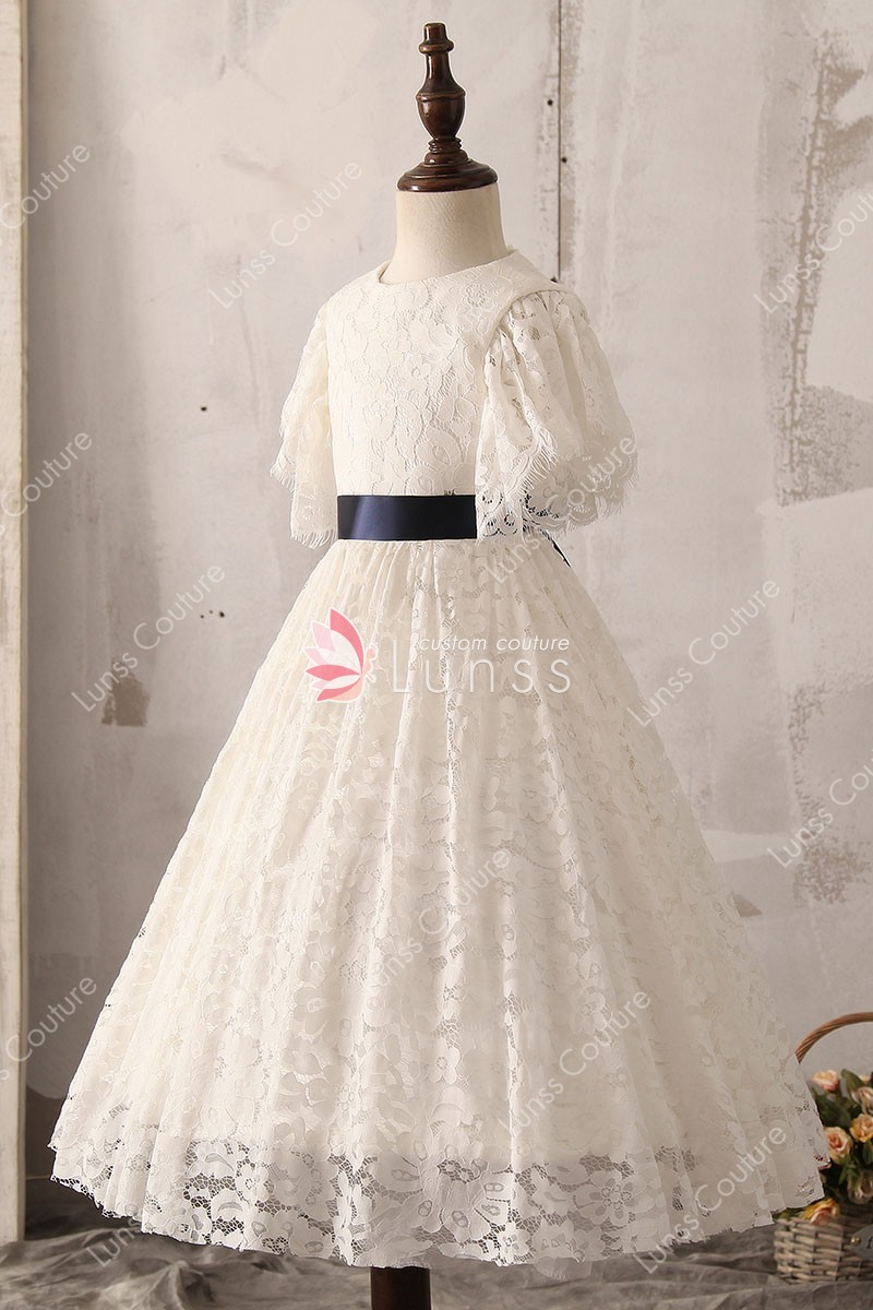 Princess ivory lace flutter sleeve flower girl dress for for Ivory lace wedding dress with sleeves