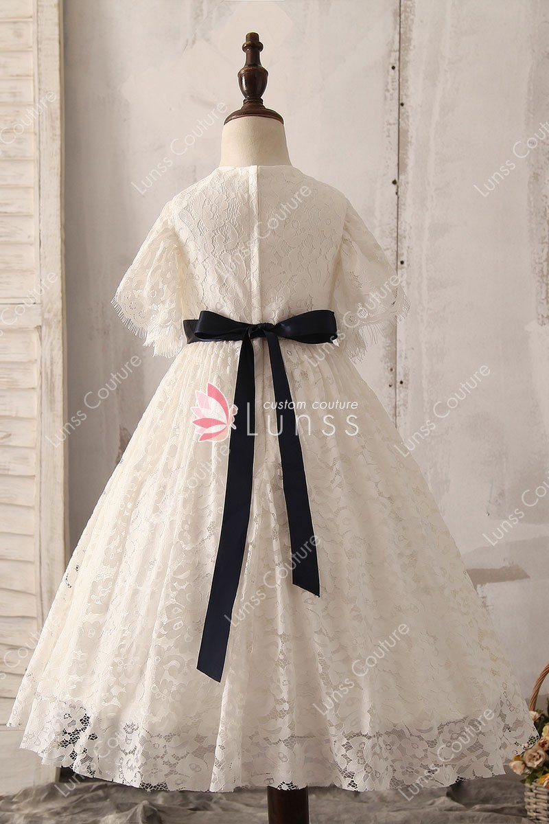 princess ivory lace flutter sleeve flower girl dress 3