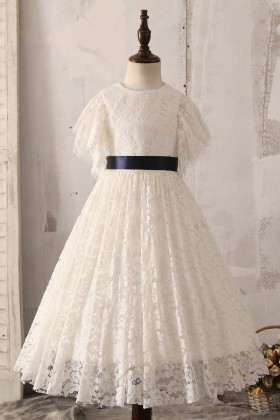 princess ivory lace flutter sleeve flower girl dress for wedding 1