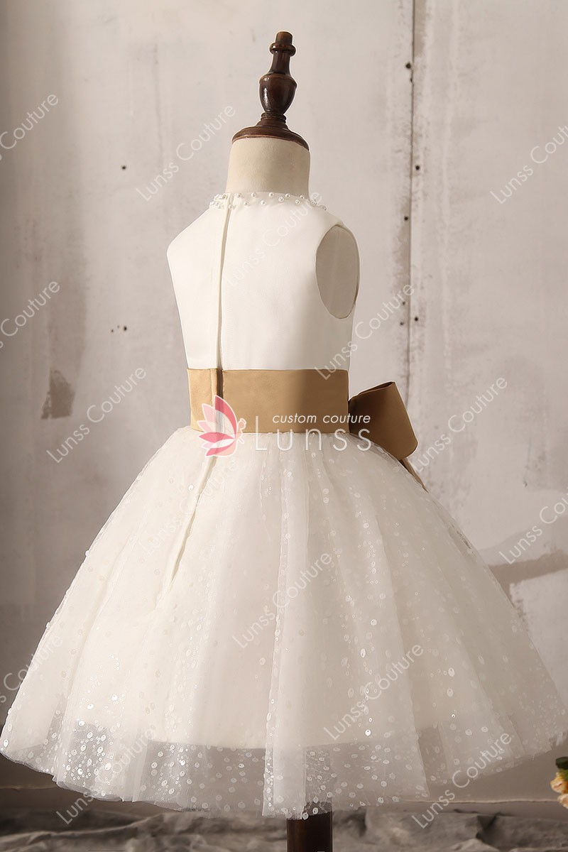 pearls sequins embellished sleeveless flower girl dress 4