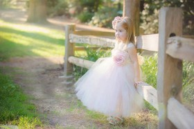 pink custom flower girl dress for toddlers tea length tulle skirt 1