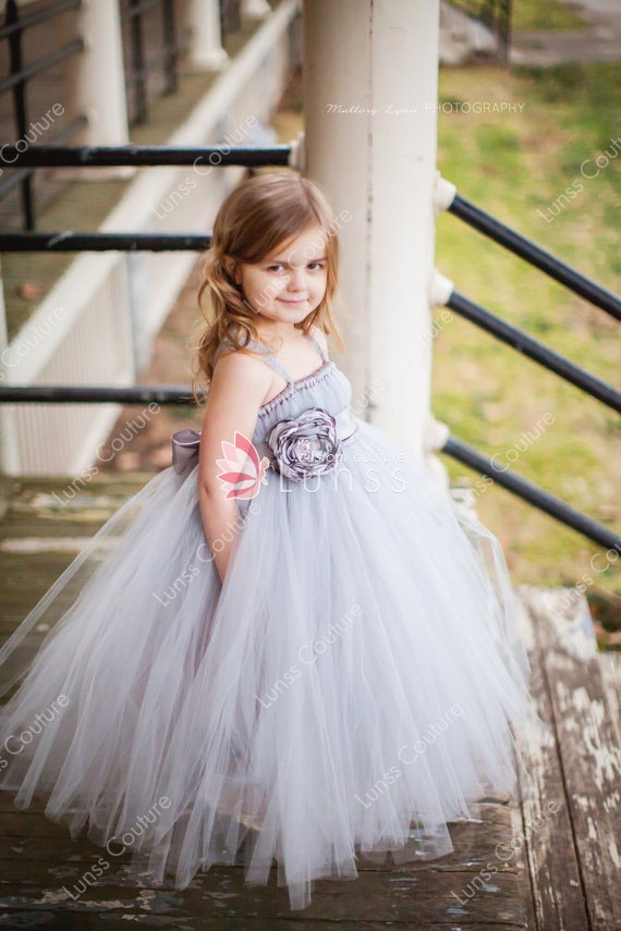 Silver Tulle Floor Length Empire Custom Flower Girl Dress