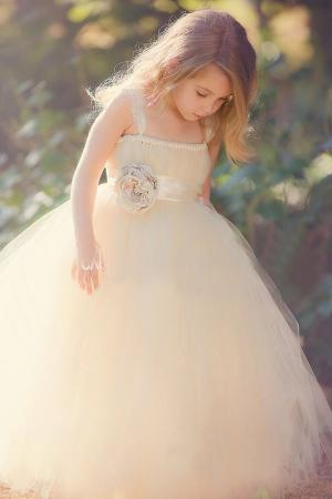 blush tulle puffy ball gown custom flower girl dress spaghetti straps