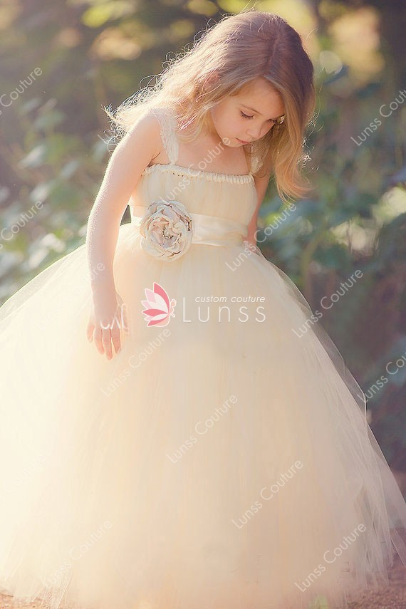 champagne tulle puffy ball gown custom flower girl dress spaghetti straps