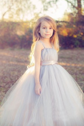 sleeveless custom made tulle flower girl dress spaghetti straps