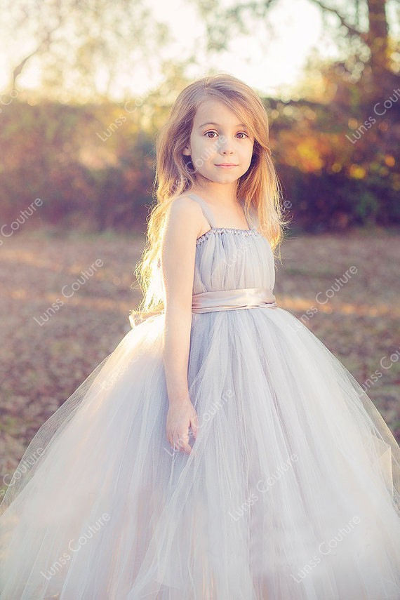 Sleeveless Custom Made Tulle Flower Girl Dress - Lunss