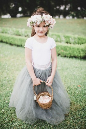 custom designer two tone flower girl dress floor length tulle skirt 1