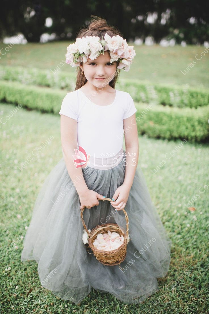 Custom Designer Two Tone Flower Girl Dress Floor Length