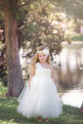 ivory one shoulder cute custom made flower girl dress puffy tulle skirt 1