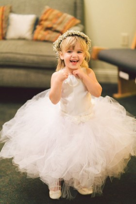 sleeveless ivory puffy ruffled tulle custom flower girl dress