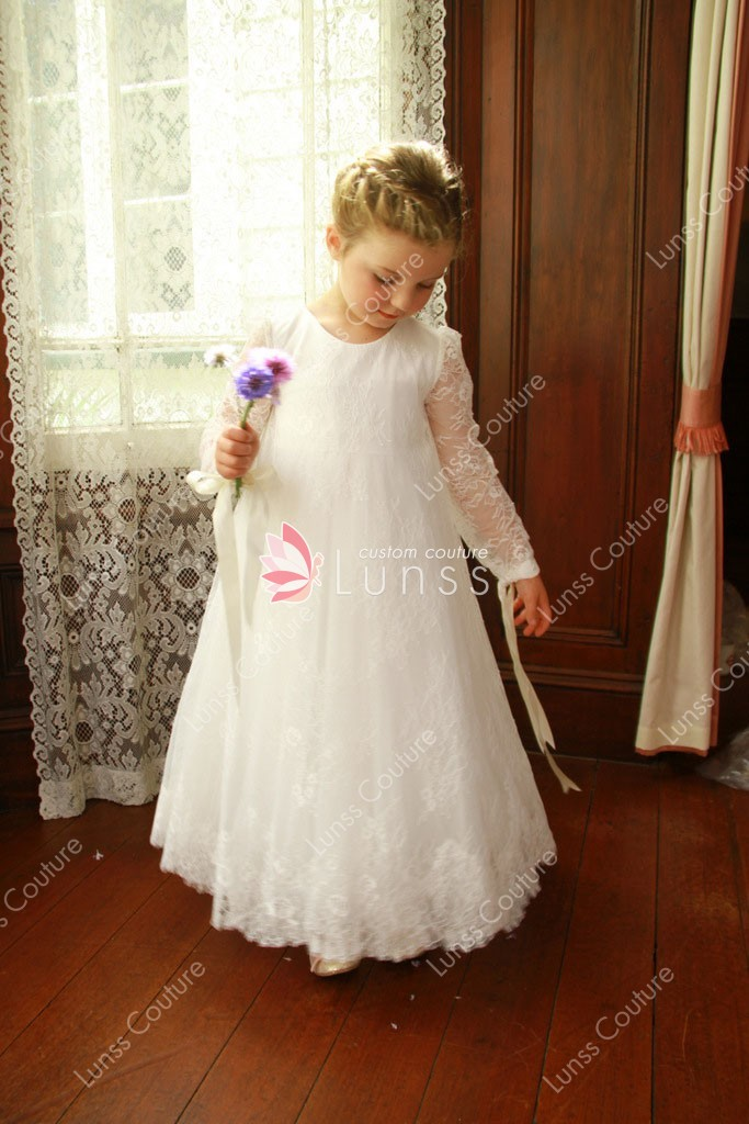 White Floor Length Lace Boho Little Girl Flower Girl Dress ...