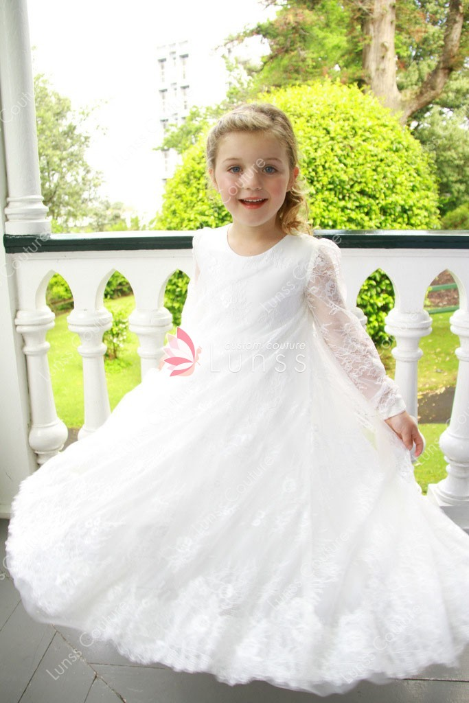 white floor length lace little girl flower girl dress illusion long sleeves 732829579
