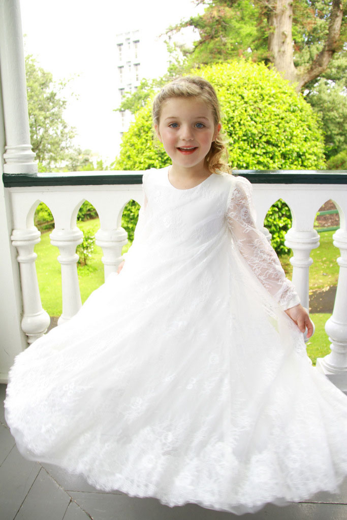 White Floor Length Lace Boho Little Girl Flower Girl Dress Illusion Long Sleeves ...
