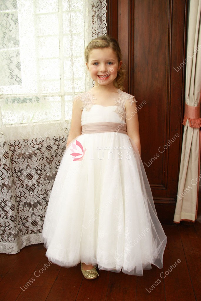 a7a01d9888d0 embroidered cap sleeve white tulle ball gown flower girl dress for less