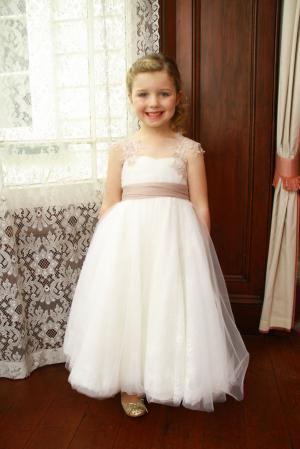 lace cap sleeve white layered tulle ball gown flower girl dress for less