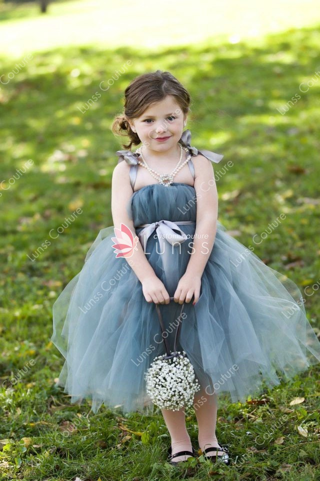 Tea Length Ball Gown Cute Fluffy Layered Tulle Princess Flower Girl ...