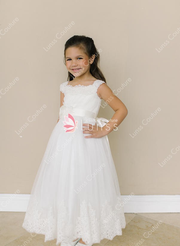 9b1c343b603 ivory lace flower girl dress handmade flower ribbon and floor length skirt
