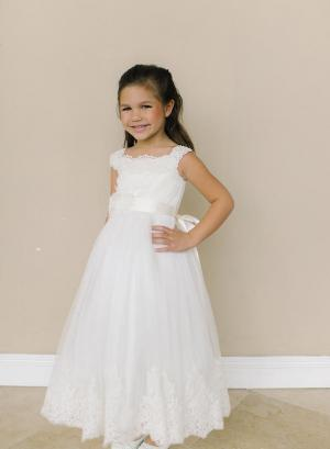 ivory lace flower girl dress handmade flower ribbon and floor length skirt