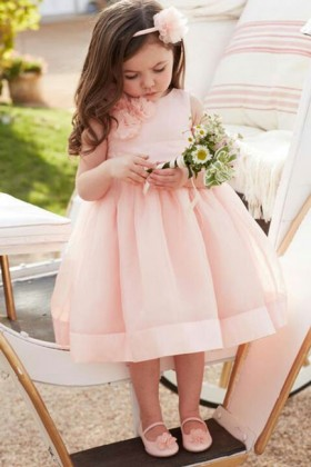 e307ea4aa Simple A-line Pink Tweed Fabric Kids Special Occasion Dress - Lunss ...