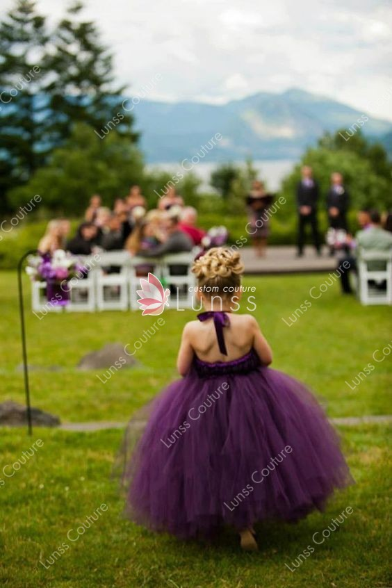 Purple tulle cute ball gown tutu flower girl dress lunss couture cute ball gown tutu flower girl dress mightylinksfo