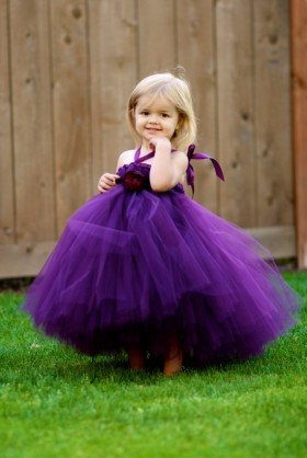 purple tulle cute ball gown tutu flower girl dress