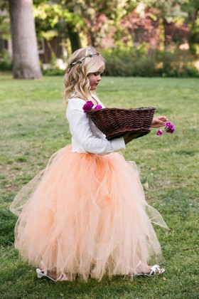 long sleeve two tone peach tulle cute ball gown flower girl dress