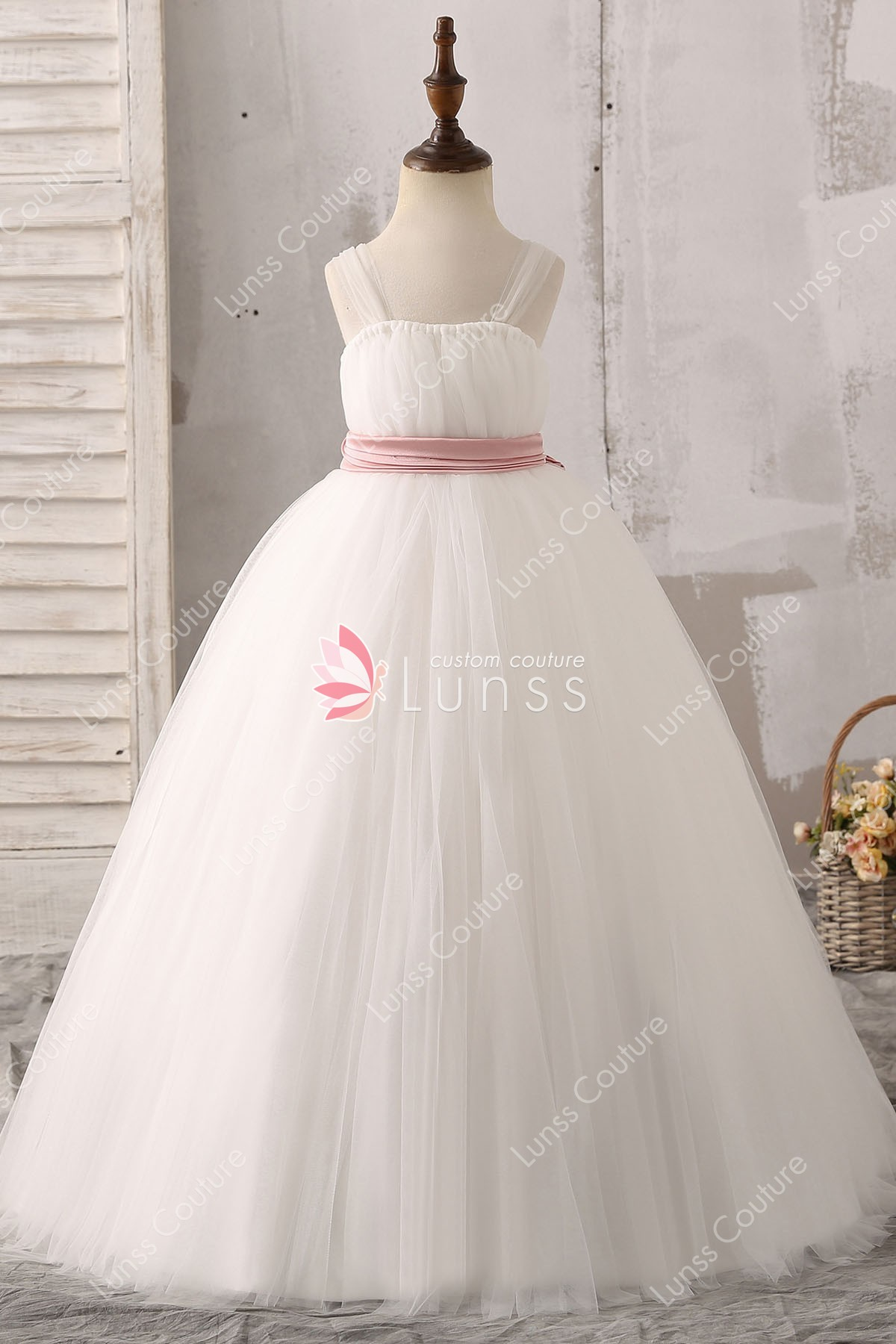 Ball Gown Illusion Tulle Straps White Floor Length Flower Girl Dress