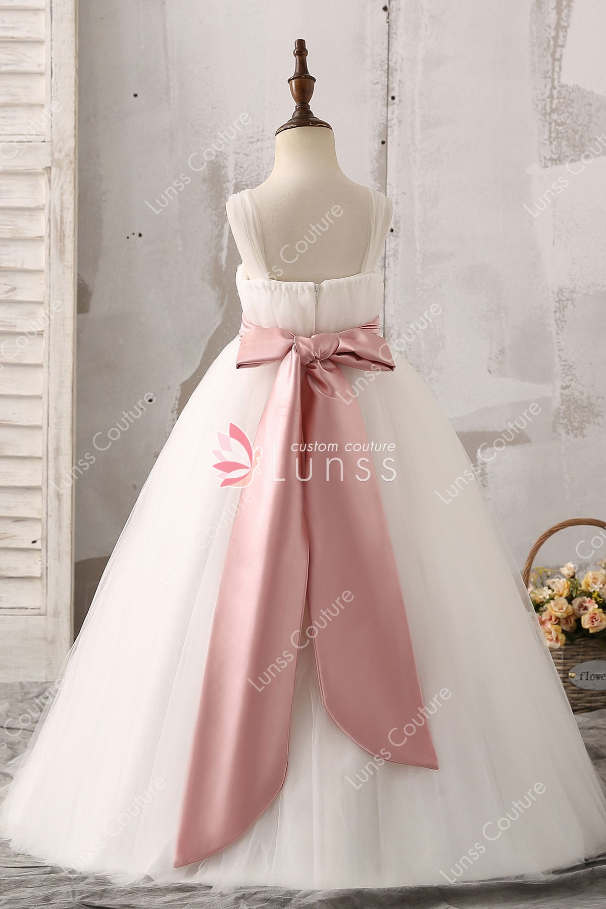 Ball gown illusion tulle straps white floor length flower girl dress white tulle flower girl dress with bow knot mightylinksfo