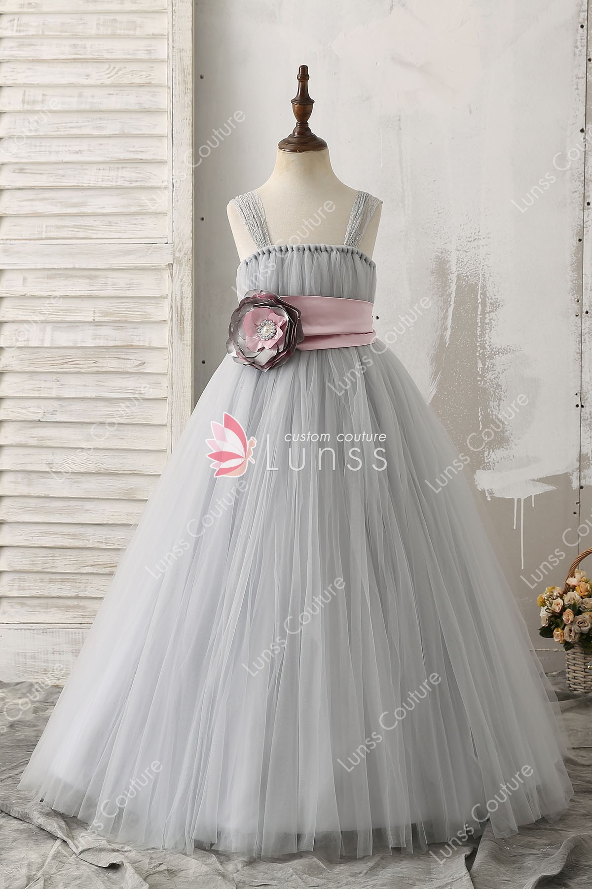 9203c128aea Silver 3D Beaded Flower Decorated Ball Gown Straps Tulle Flower Girl ...