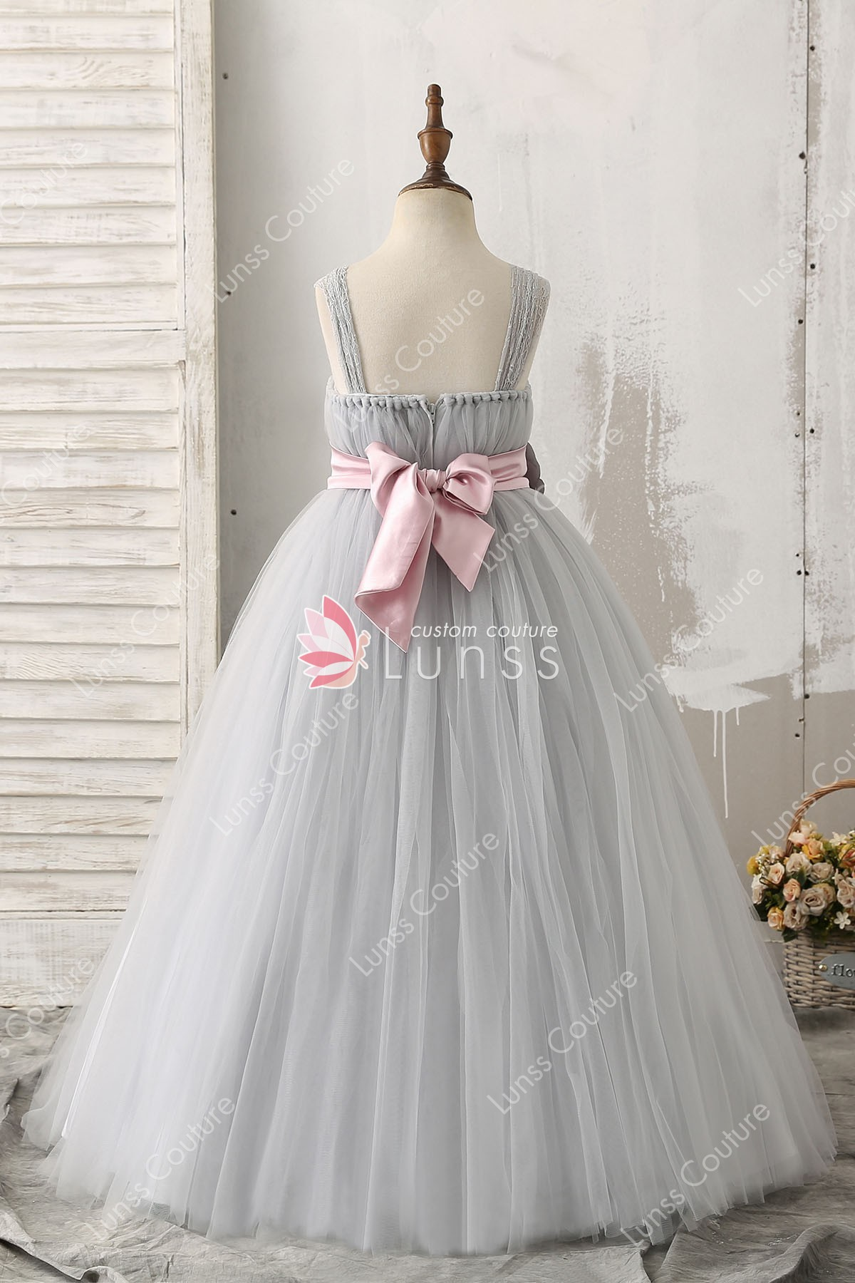 Silver 3d Beaded Flower Decorated Ball Gown Straps Tulle Flower Girl