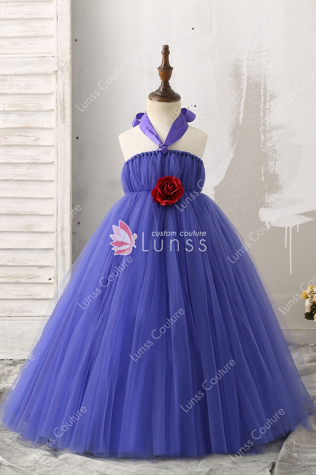 3d Rose Ball Gown Halter Straps Royal Blue Floor Length Tulle Flower