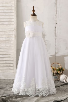 cd3db1766ce A line 3D flower and Sash floor length sleeveless White Tulle Flower Girl  Dress