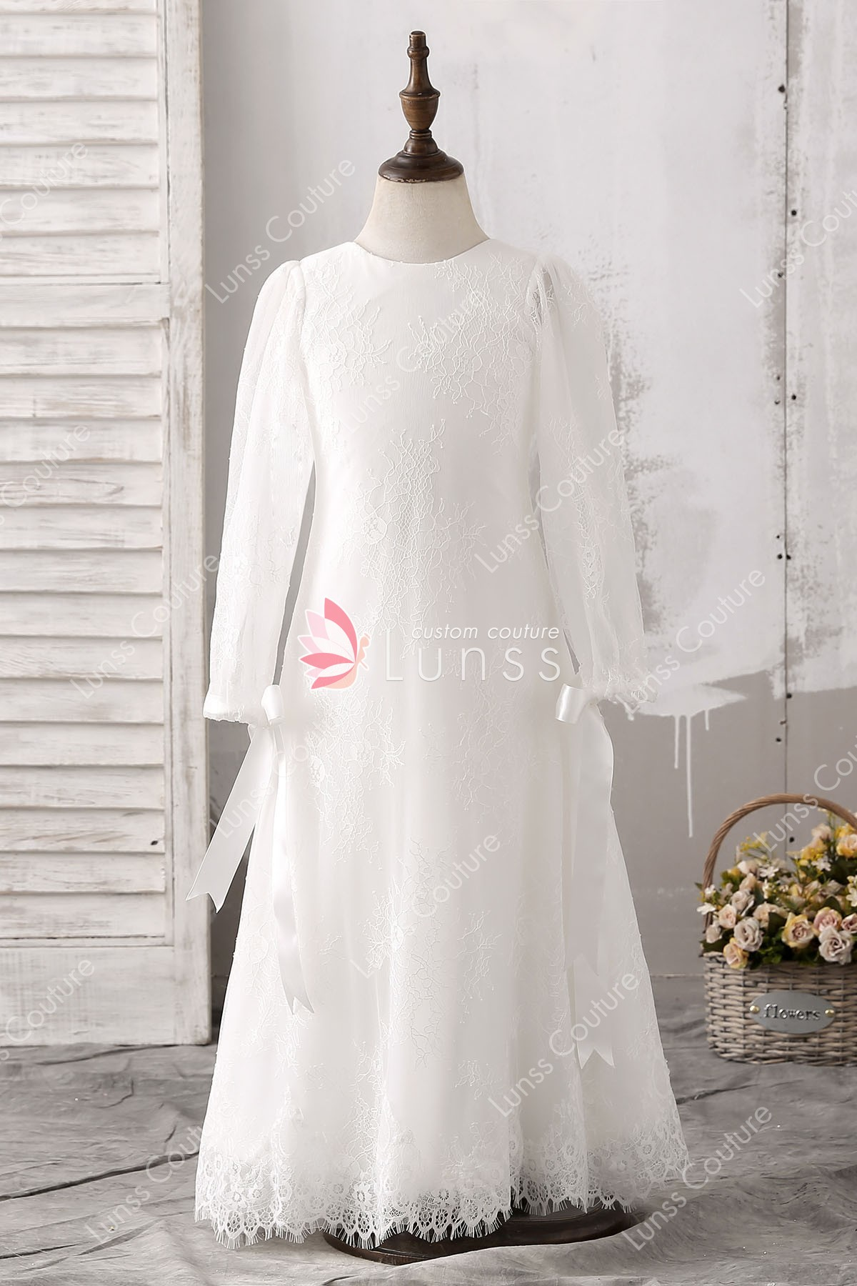 Lace appliques jewel neckline long sleeves floor length white flower lace appliques jewel neckline long sleeves floor length white flower girl dress mightylinksfo