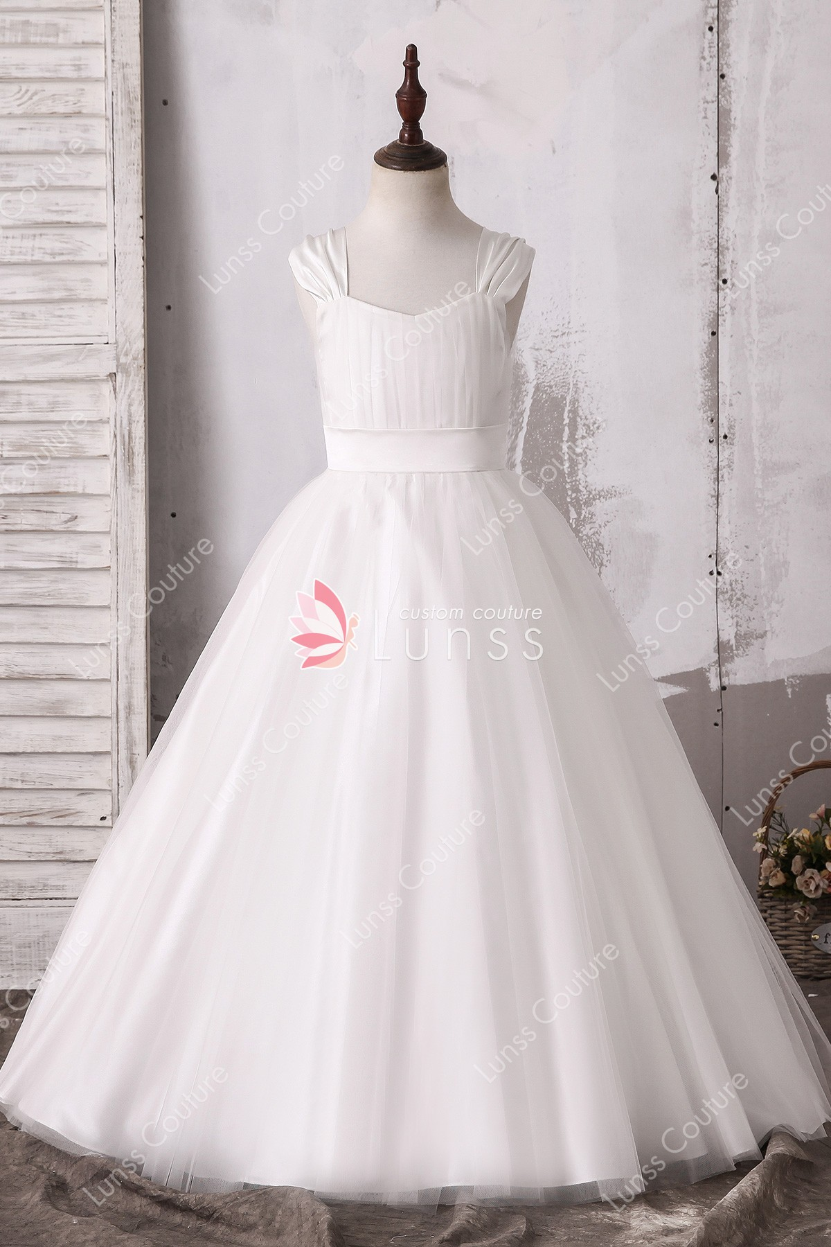 Cute Ivory Ballgown Tulle Satin Flower Girl Dress Lunss Couture