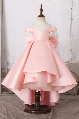 8ae9a89fd54 Lovely Off Shoulder Baby Pink Princess High Low Satin Flower Girl Dress  with Big Bowknot for