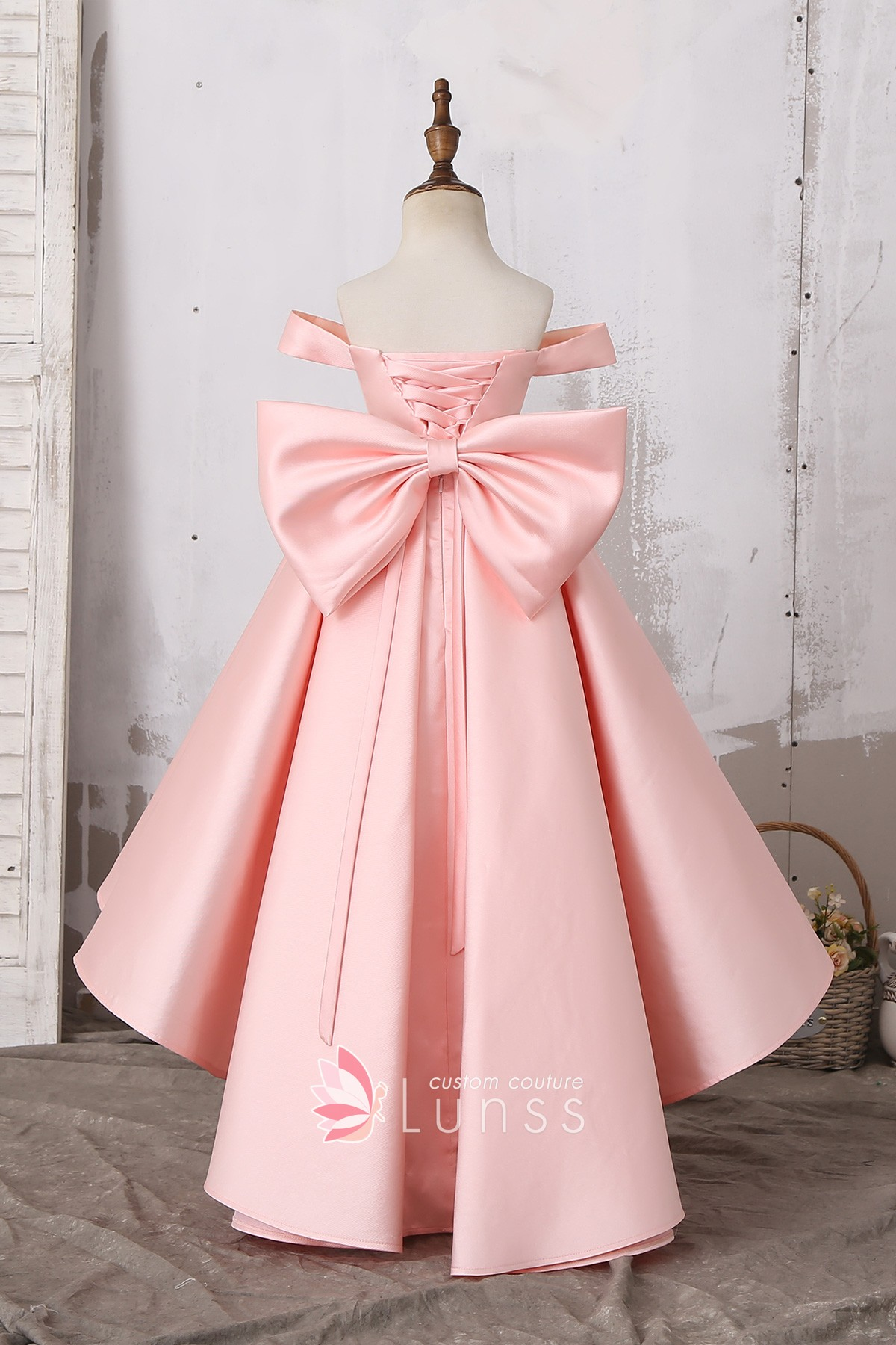 9cd894959f1d Lovely Off Shoulder Baby Pink Princess High Low Satin Flower Girl Dress  with Big Bowknot for